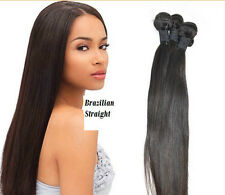 "100% Brazilian Virgin Remy Human Hair Weave Extensions 12"" - 30"" Black, Straight"