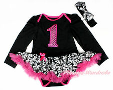 Hot Pink Sparkle 1ST Black Long Sleeve Bodysuit Damask Baby Pettiskirt NB-18M