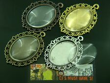 5 x OVAL SILVER GOLD BRONZE RED PENDANT SETTING 18mm x 25mm GLASS DOME CABOCHONS