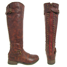 New Womens Brown Red Zipper Studded Riding Buckles Knee High Boots Sz 5.5-10