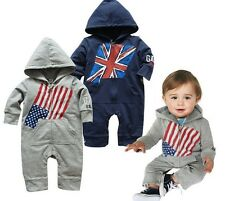 H26   New Fashion Zipper Flags Cute Long SleeveJumpsuit Beautiful Baby Romper US