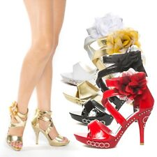 Rhinestone Strappy Flower Wedding Prom Evening Open Toe High Heel Sandals Shoes