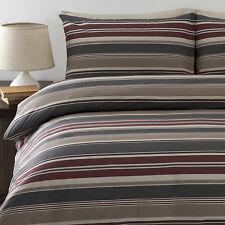 Striped LIAM BURGUNDY  Quilt / Doona Cover Set  250TC Percale NEW