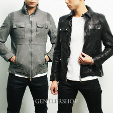 Mens Fashion Designer Reinforced Shoulder Pocket Leather Jacket, GENTLERSHOP