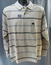 St. John's Bay, Oatmeal Heather Striped, Long Sleeve Polo, New with Tags