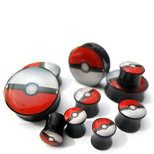 Pair of Pokeball Plugs Double Flare 2G - 1 inch  Pick Your Gauge Size - New!