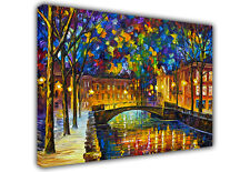 LARGE CANVAS OIL PAINTING REPRINT LEONID AFREMOV EVENING IN TOWN / ART PRINTS