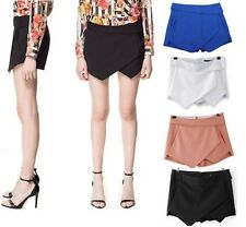 Women Fashion Tiered Wrap Asymmetric Shorts Culottes Skort Invisible Mini Skirt
