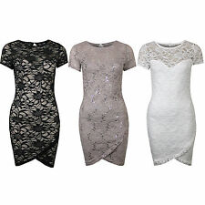 Womens Cap Sleeve Sequin Floral Lace Wrap Over Stretch Bodycon Party Dress