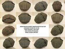 GENTS WOOL BUGATTI FLAT CAP EAR FLAPS SHOOTING HUNTING FISHING MADE IN BRITAIN