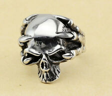 316L Stainless Steel Silver Men's Punk Skull Rings Jewelry Size 8 9 10 11 12