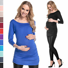 Pregnancy Maternity Stretchy Bodycon Ruched Top Jersey Tunic UK Sizes 4-18   973