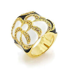 Mothers Day Gifts Gold Plated Black White Enamel Flower Cocktail Ring CZ Accents