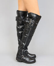 New Bamboo Montage-81 Crinkle Leatherette Faux Fur Lined Knee High Riding Boots
