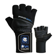 DAM Pro Gel Weight Lifting Gloves Gym Body Building Straps Bar Leather Tra