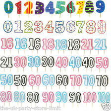 AGE and NUMBERS Birthday Party Celebration Candles - Numbers 0 to 100