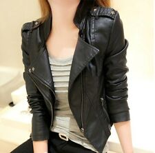 NEW Women's jackets Slim lapel motorcycle leather jacket coat badges rivets