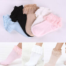 New Vintage Retro Lace Ruffle Frilly Ankle Socks Ladies Princess Girl 5 Black