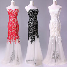 Embroidery Mermaid Strapless Lace&Tulle long Ball Gown Evening Prom Party Dress
