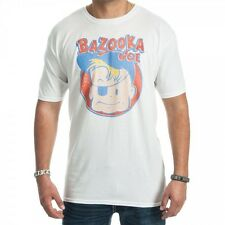 BAZOOKA JOE Distressed Logo retro white T-shirt **NEW comic strip bubble gum