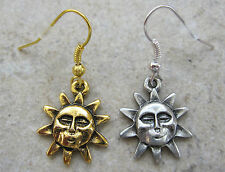 Celestial Large SUN Face Fine Pewter Charm Earrings ~ Silver or Gold ~ SALE!