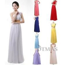 New One Shoulder Chiffon Evening Formal Party Ball Gown Bridesmaid Floor Dresses