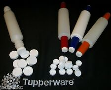 Tupperware WHITE Rolling Pin NEW Replacement Cap CHOICE ~Screw Lid Twist Top