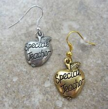 """Special Teacher"" Fine Pewter Charm Earrings ~ Silver or Gold Plated ~ SALE!"