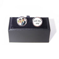 Personalised Photo Wedding Anniversary Cufflinks with Engraved Gift Box