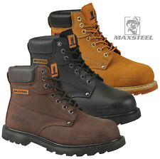 MENS WORK SAFETY SHOES LEATHER BOOTS STEEL TOE CAP ANKLE BOOTS SHOES TRAINERS