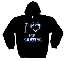 I LOVE ICE SKATING HEAVYWEIGHT CRYSTAL DESIGN HOODY  HOODIES (any size)
