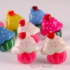 ♥FUNKY CUPCAKE HEART STUD EARRINGS SWEET JUNK FOOD MUFFIN QUIRKY KITSCH SNACK♥