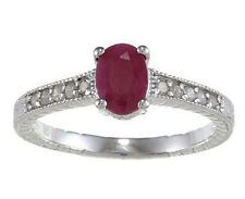 1.25ct Genuine Ruby Diamond Ring Vintage Style in Sterling Silver