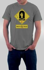 Walking Dead tshirt Zombie Caution Sign Tshirt cotton Tee shirt