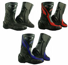 LV14 Motorcycle Black Blue Red Leather Waterproof Motorbike Winter Race Boots