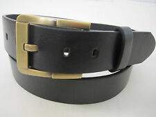 New Mens Snap-On Black Dress Casual Leather Belt W/ Brass Color Removable Buckle