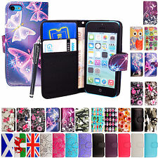 For Apple iPhone 5c New Book Pouch Printed Leather Protection Case Cover +Stylus