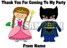 24 Personalised PRINCESS & SUPERHERO Thank You Stickers for Party Bags Ref - 1A