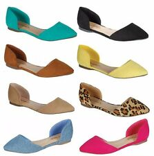 New Breckelles Womens Pointy Toe Slip Ons Comfy Classic D'Orsay Ballet Flats