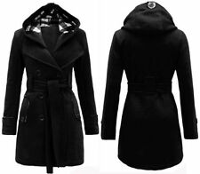 NEW WOMENS LADIES BELTED BUTTON COAT HOOD JACKET PLAIN HOODED JACKET TOP 8-14