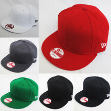 New Era Mono Plain Flat Peak Snapback Snap Back Black Red Baseball Cap 9FIFTY