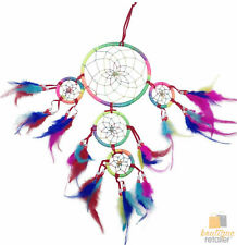 DREAM CATCHER with Beads Beautiful Bright Natural Soft Feathers Native American