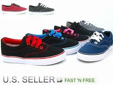 Kids Girl Boy Canvas Shoes Athletic Sneakers Rubber Vulcanized Skate Lace Up Van