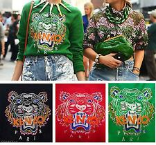 New Spring Tiger Head Embroidery Fleece Pullover Jumpsuit Sweater T-Shirt Top
