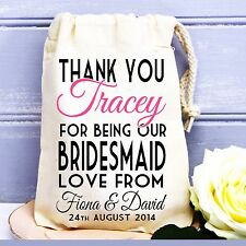 Personalised wedding favour cotton bag bridesmaid,flower girl thank you gift bag