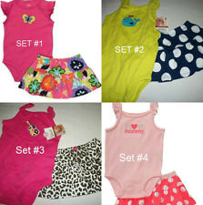 * NEW GIRLS CARTERS SUMMER Bodysuit and Skort OUTFIT SET 3M 6M 9M 12M 18M