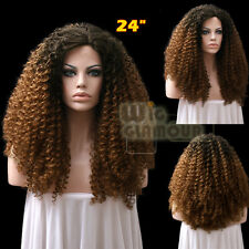 "Long Spiral Curly 18""-28"" 2 Tone Brown Lace Front Wig Heat Resistant"