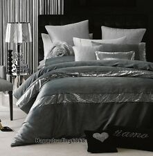 LINEN HOUSE Glamour Pascal Pewter Grey Sequin * Super King Queen Quilt Cover Set