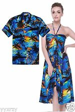Couple Matching Shirt Dress Outfit Hawaiian Cruise Valentine Wedding Sunset Blue