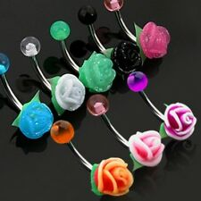 Navel Ring Silicone Rose Surgical Steel Belly Button Ring Piercing Jewelry 14g